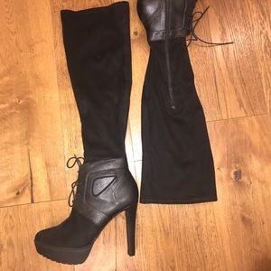 Black over the knee high heels!